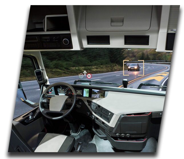 Windshield view of Autonomous Truck